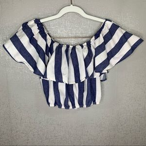 ✨3 for $20 Lulu's Striped Crop Top Size Large